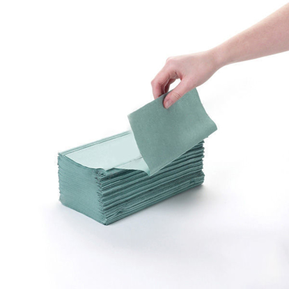 Picture of Green V-fold Paper Towel (1Ply, 24.5cm x 22.2cm, Pack of 3600)