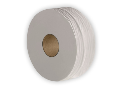 Picture of White Mini Jumbo Toilet Roll  (2ply, 200m x 76mm, Pack of 6)